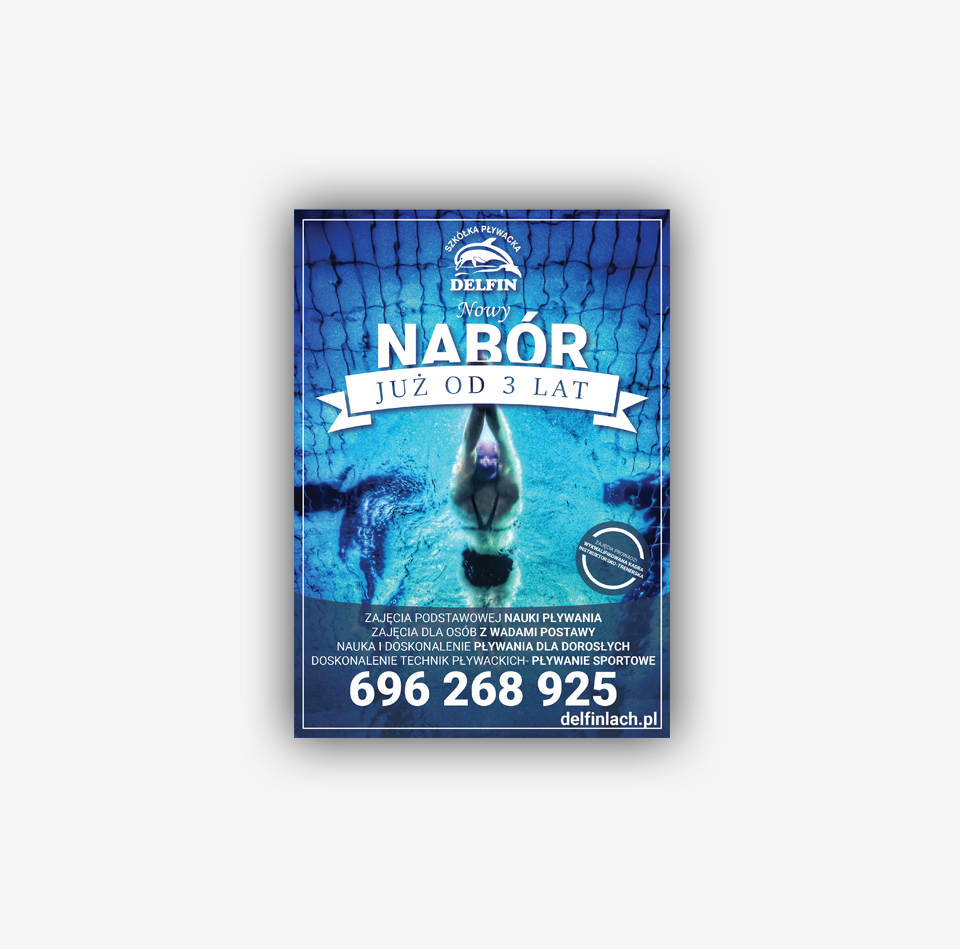 """Projekty graficzne wydruków - Plakaty dla szkółki pływackiej """"Delfin"""""""