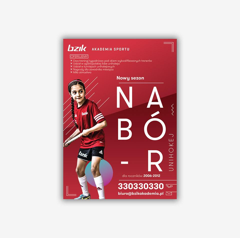 Projekt graficzny plakat akademia sportowa Bzik Nowy Targ