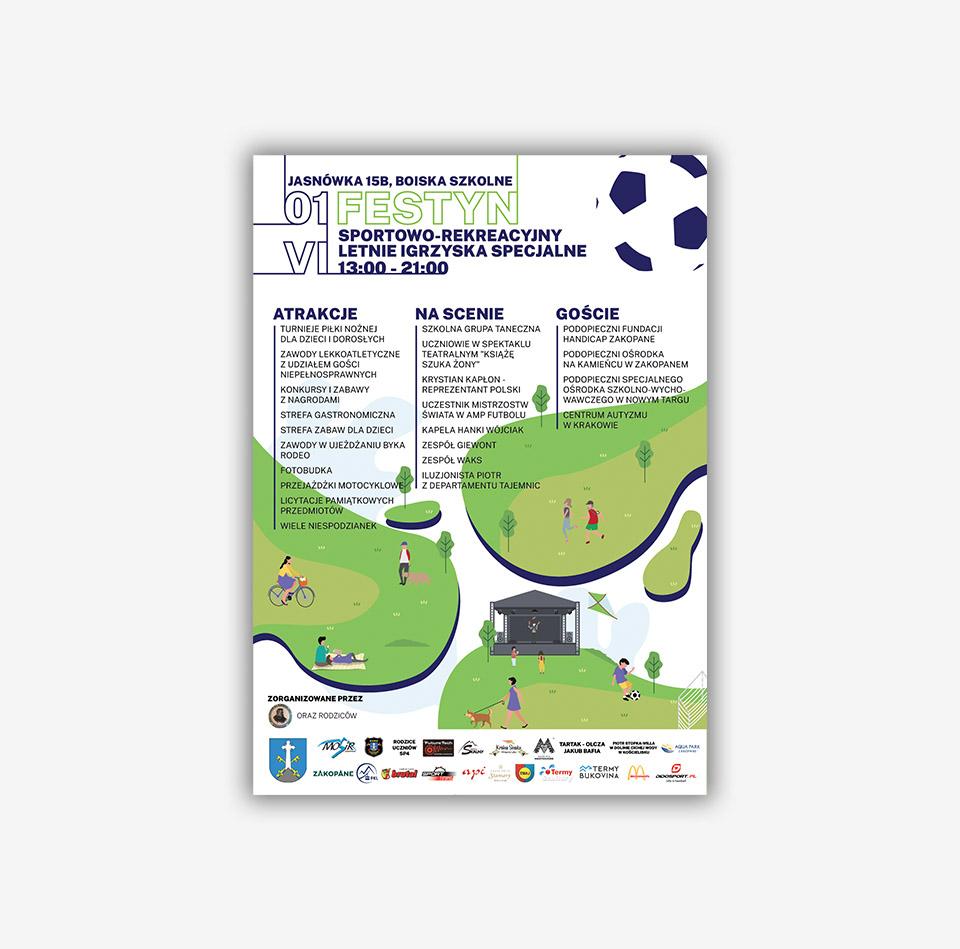 Projekt graficzny plakat festyn sportowy Zakopane